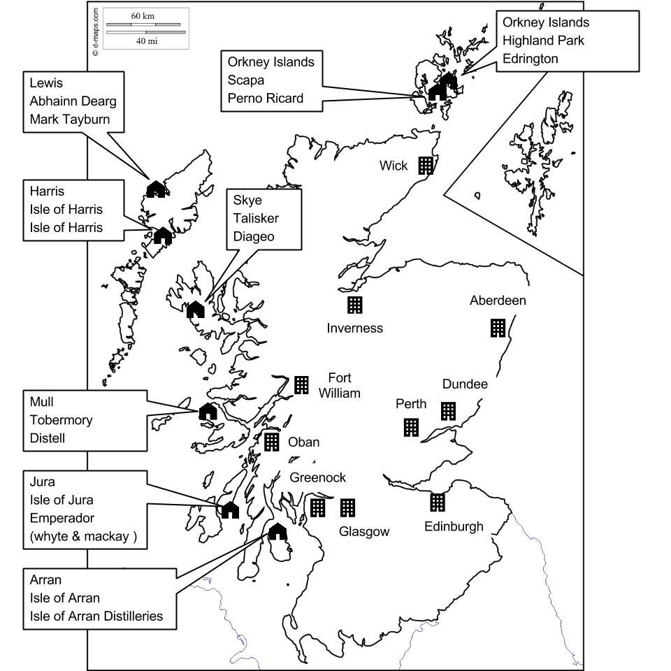アイランズ・モルトのある島と蒸留所名、その所有者の一覧。