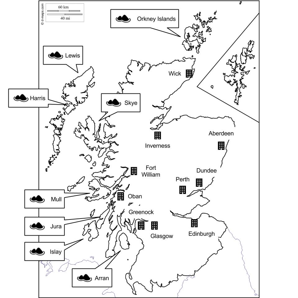スコットランドの主要都市と、蒸留所がある島々の一覧。