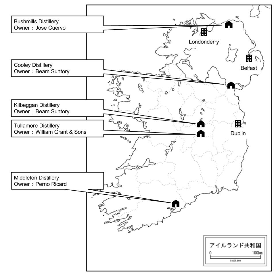 アイルランドの蒸溜所マップ。2016年10月時点のものです。