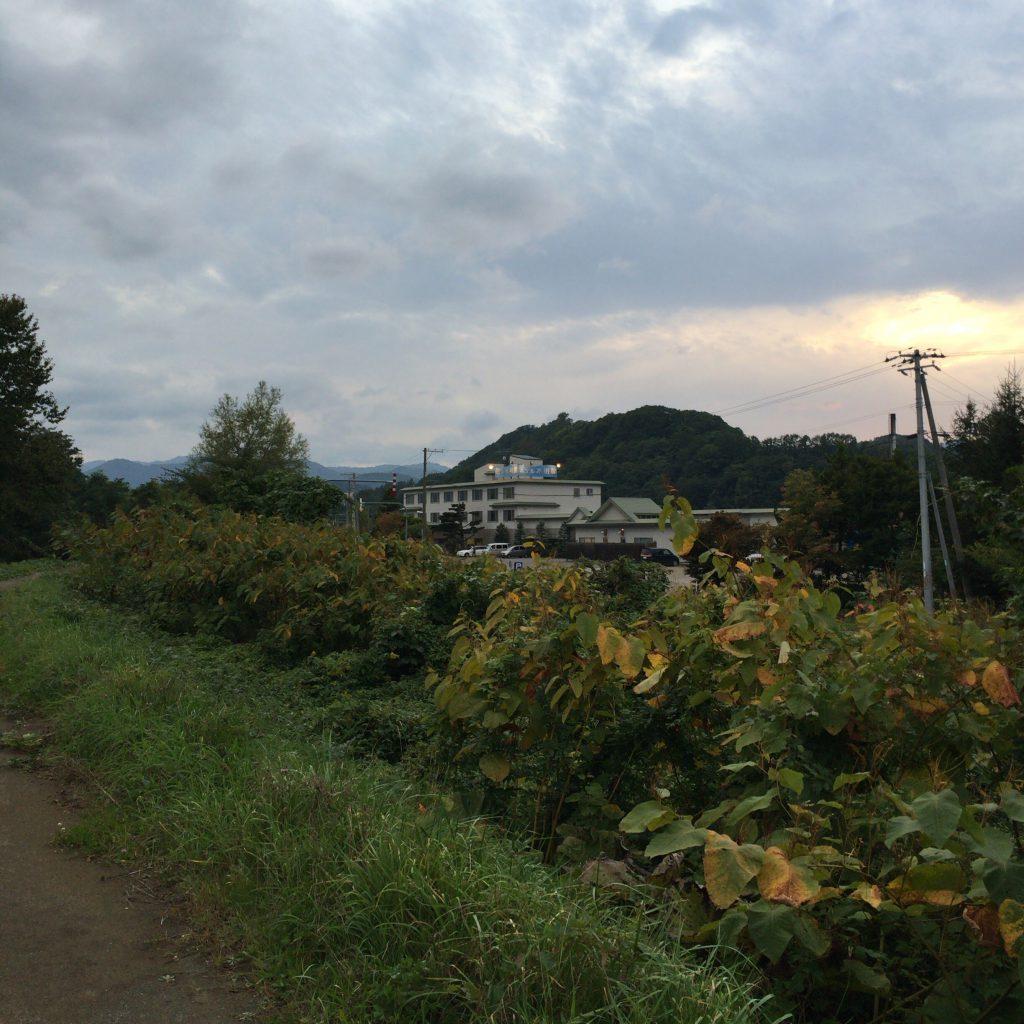 余市駅方面から、余市川沿いの小道(ほぼ獣道)をテクテク30分ほど歩くと水明閣が見えます。