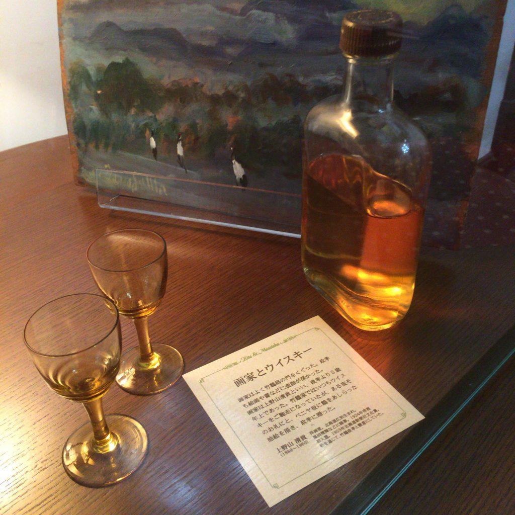 余市の竹鶴邸に展示されているデキャンタボトル。晩年の竹鶴政孝はこのボトル1瓶を空けていた。