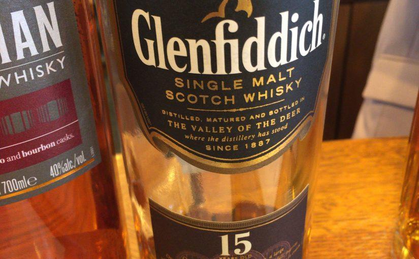 グレンフィデック15年ソレラリザーブのボトル。見た目にはほとんど12年ものと変わらない。