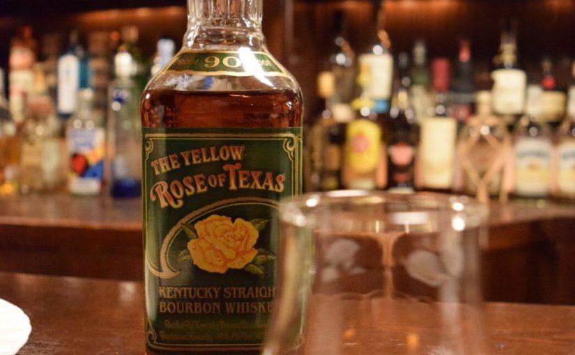 ザ・イエローローズオブテキサス8年とテイスティンググラス。美しいラベル。