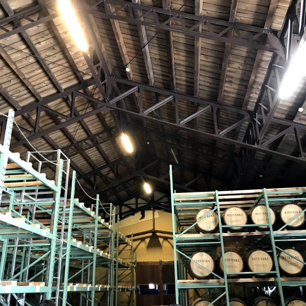 三郎丸蒸留所の貯蔵庫